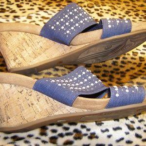 WOMENS IMPO SIZE 9 BLUE 2 STRAP WEDGE SANDAL SHOE